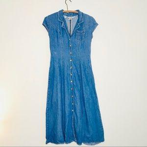 Vintage Retro 90's Maxi Button Up Denim Jean Dress